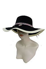 Striped Fashion Floppy Colorful Native Pattern with Colors Tassels Suede Band Sun Hat