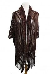 Slouchy Net Textured Super Soft Poncho with Fur Accent