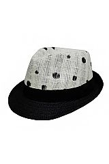 Dots Printed Two Tone Straw Fedora Hat