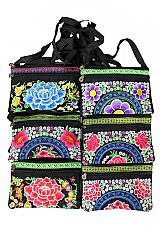 Textured Embroidered Vibrant Peony Patterned Cross Body Bags