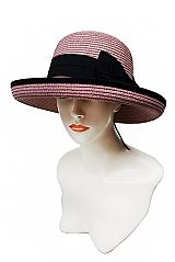 Over Sized Black Bow Banded Bucket Styled Toyo Straw Sun Hat with Curved Up Brim and Black Outline