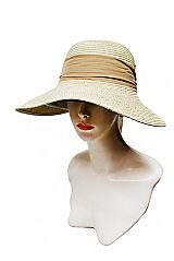 Two Tone Large Visor Brimmed and Chiffon Fabric Bow Banded Sun Hat