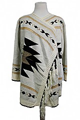 Oversize Abstract-Print Poncho Sweater Featuring Gold Accented Shimmer