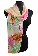 Blossomed Floral Pattern Sheer Chiffon Scarves