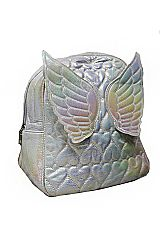 Winged and Glossed Zippered Backpack