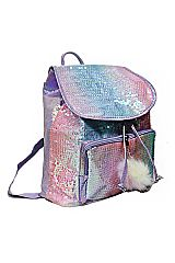 Sequins Iridescent Colored Draw Cord Closure Backpack with Pom Pom