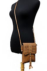 Laser Cut Boho Vibe Patterned  Eye Design with Gold Stud Tassel Cross Body Bag