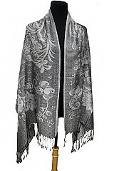 Over Sized Paisley and Leaves Printed Two Tone Fringed Pashmina Shawl Scarves