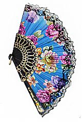 Luxurious and Antique Peonies Floral Printed Traditional Fan Finished with Black Lace