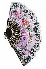 Luxurious and Antique Poppy Floral Printed Traditional Fan Finished with Lace