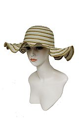 Wave Brim Stripe design Fabric Sun Hat