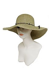 Sand Toned With Wooden Bead Band Earthy Beach Sun Hat
