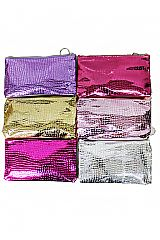 Snake Leather Patterned Hologram Gloss Finished One Zipper Wallet