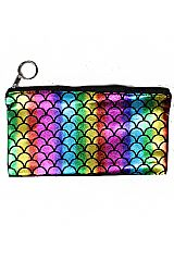 Fish Scale Patterned Hologram One-Zipper Wallet