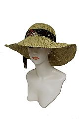 Hand Made Versatile Crushable Straw Wired sunhat With Floral Peonies Bow Tied Band