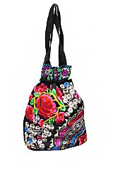 Tropical Floral Garden Printed Cross Body Pouch Bag with String Closure