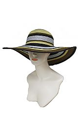 Colorful Multi Stripe Fashion Glitz Tinseled Floppy Sun Hat