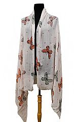 Butterfly and Polka Dot All Print Semi Sheer Shawl Scarves