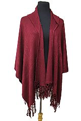 Plain Cashmere Feel Super Softness with Hooded Poncho