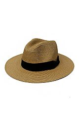 Black Banded and Solid Colored Toyo Straw Panama Hat