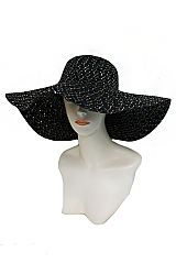 Plain Color with Sequins Accent Design Beautiful Floppy Sun Hat