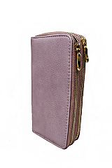 Luxurious Soft Faux Leather Fashion Wallet with Double Golden Zipper Closure