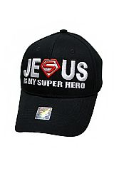 JESUS IS MY SUPER HERO Embroidered Baseball Cap with Velcro Back