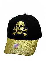 Glitter Skull Embroidered Baseball Cap with Velcro Back