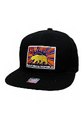 California Republic Grizzly Bear Embroidered Snap Back Hat