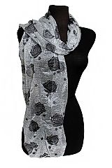 Hearts and Roses All Print Semi Sheer Scarves
