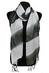 Gold Glittered and Striped Semi Sheer Fashion Scarves