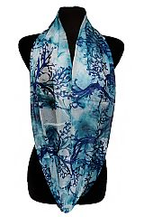 Mesmerizing Tree Branches and Fog Detailed Semi Sheer Fashion Scarves