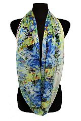 Floral Blossoms Watercolor Printed Semi Sheer Fashion Scarves