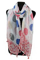 Colorful Big Polka Dot and Hawaii Hibiscus Flower with Tassel Design Big Size Regular Scarf