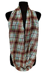 Multi Color Plaid Patterned Semi Sheer Fashion Infinity Scarves