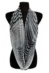 Multi Color Zig Zag Printed Semi Sheer Fashion Infinity Scarves