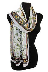 Floral and Elephant Design Chiffon Felt Softness Scarves