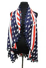American flag Design Cardigan Style Chiffon Feel Bubble Teasel