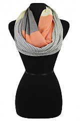 Blocked Stripe Soft & Silky Infinity Scarves