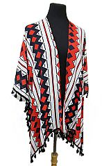 Color Chromatic Abstract Shape Short Tassel Fashion Softness Kimono