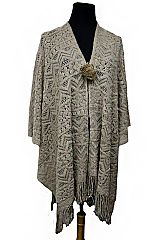 00daccca812 Aztec Pattern Crochet Super Soft Open Poncho
