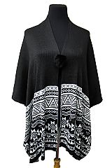 Aztec Pattern Knitted Soft Poncho
