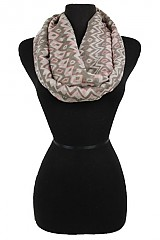 Geometric and Missoni pattern Woven Soft Infinity Scarf