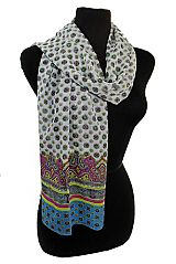 Abstract Cultural Shapes Paisley Printed Bottom Chiffon Felt Softness Scarves