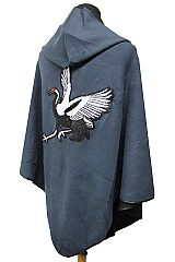 Black Enchanted Swan Sequin Beaded Detail Hooded Cloak Poncho