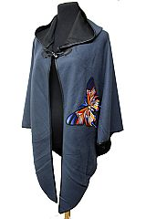 Vivid And Bold Colorful Embroidered Autumn Butterfly Patched Hooded Cloak Poncho