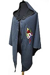 Vivid Colorful Embroidered Tropical Birds Patched Hooded Cloak Poncho