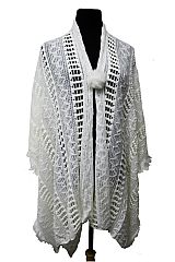 Diamond & Net Patterned Soft Crochet Open Poncho with Pom Pom