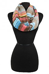 Multi Color Woven Striped Design Soft Infinity Scarves.
