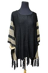 Two Tone Chevron Striped Neckline Poncho with Fringes